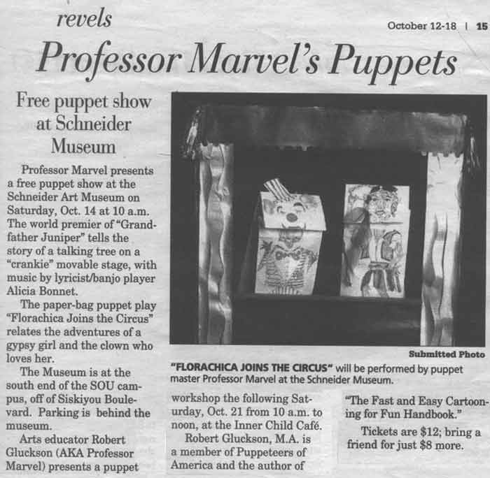 Ashland Daily Tidings newspaper article about Professor Marvel's Puppet Show