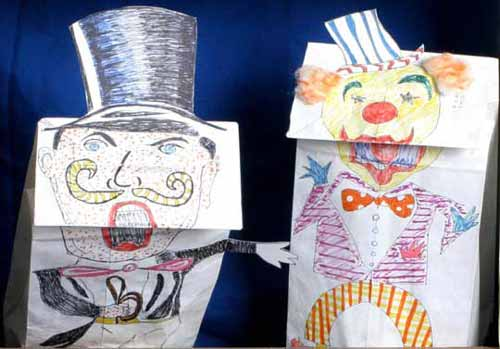 Ringmaster and Clown Puppets